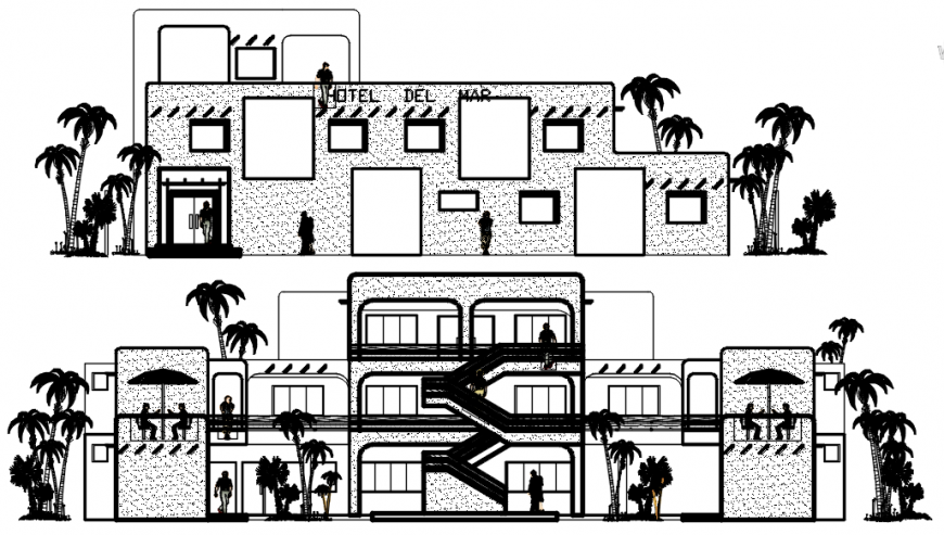 2d CAD elevation of hotel building blocks dwg autocad file