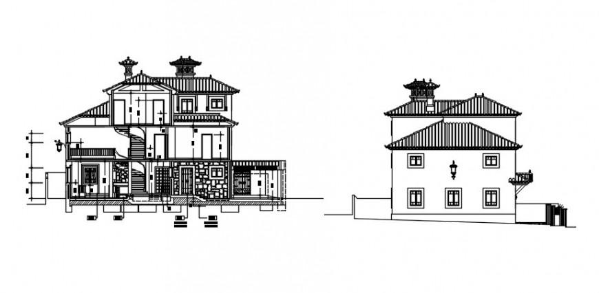 2d CAD elevation of house details autocad software file
