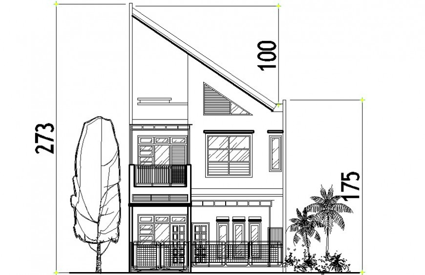 2d CAD elevation of two-story apartment dwg file
