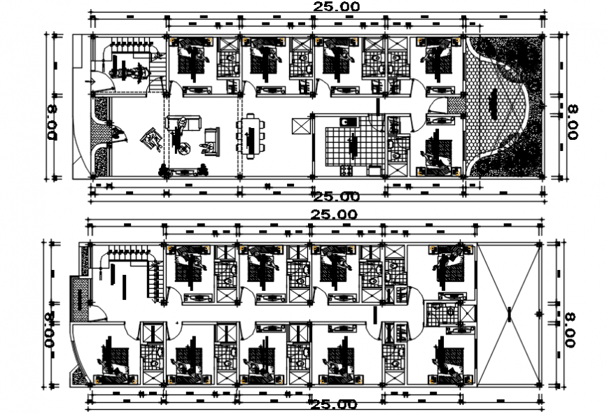 2d CAD plan drawings details of hotel building units dwg autocad file