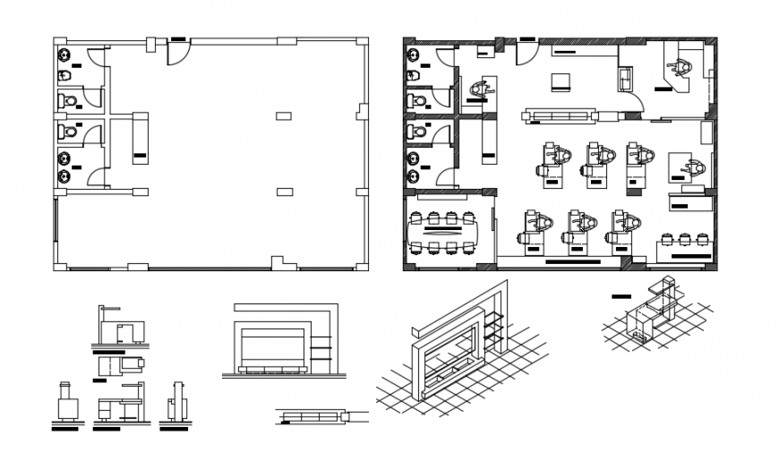 2d CAD plan of college room area autocad software file
