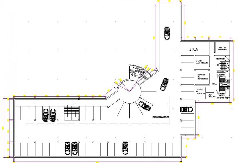 2d CAD plan of parking space details dwg autocad file