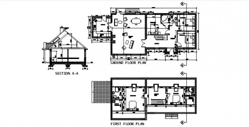 2d CAD section and centerline plan details of house autocad file