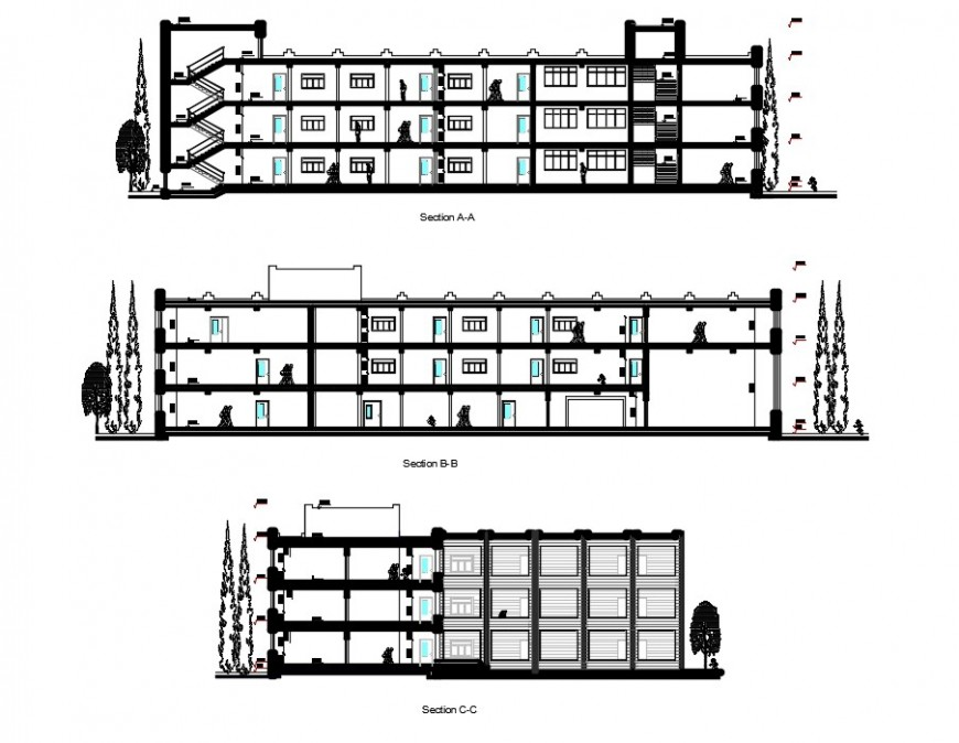 2d CAD sectional drawings details of school building dwg file