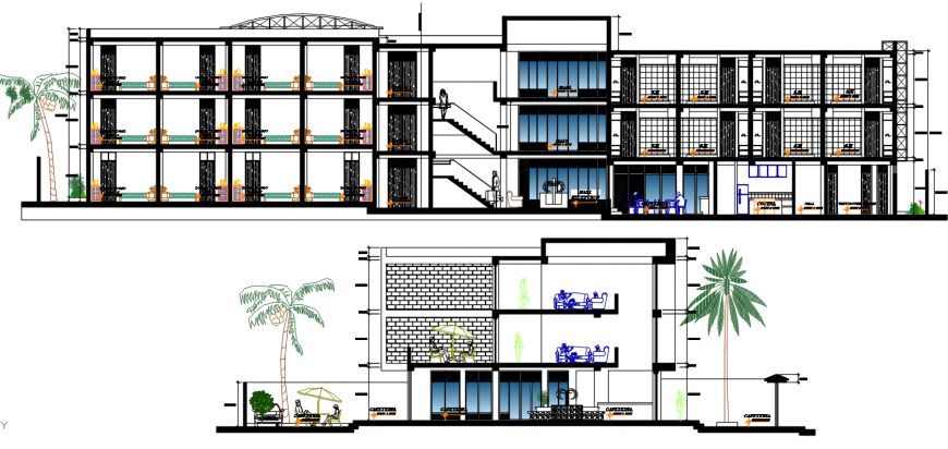 2d CAD sectional drawings of hotel building units dwg autocad software file