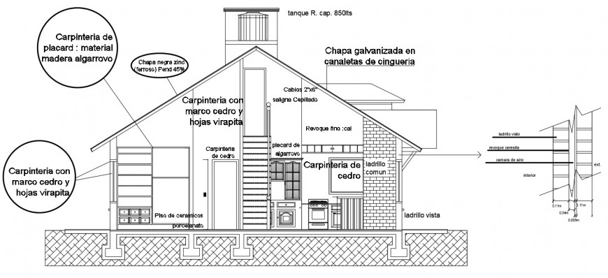 2d CDd sectional drawings of single story house autocad file