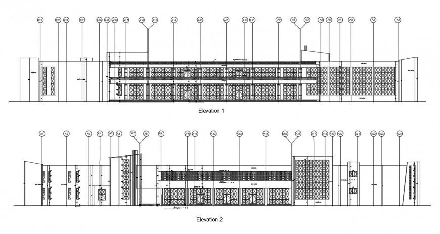 2d Club house elevation design cad file