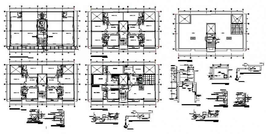 2d construction plan of a multi-flooring building structure detail layout file in autocad format