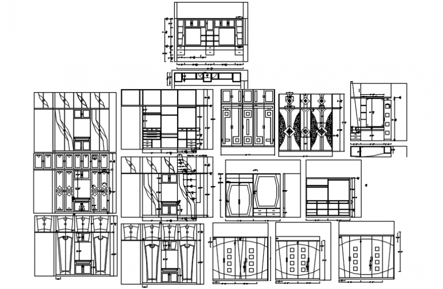 2d different option of wardrobe drawing autocad file