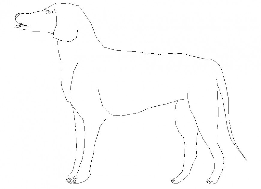 2d dog block side view cad file