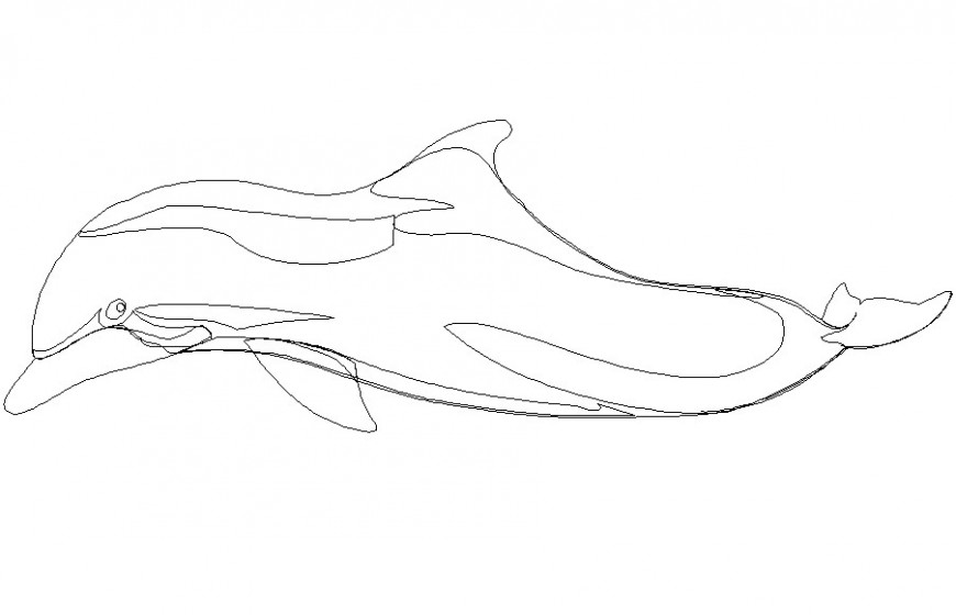 2d Dolphin cad blocks side view