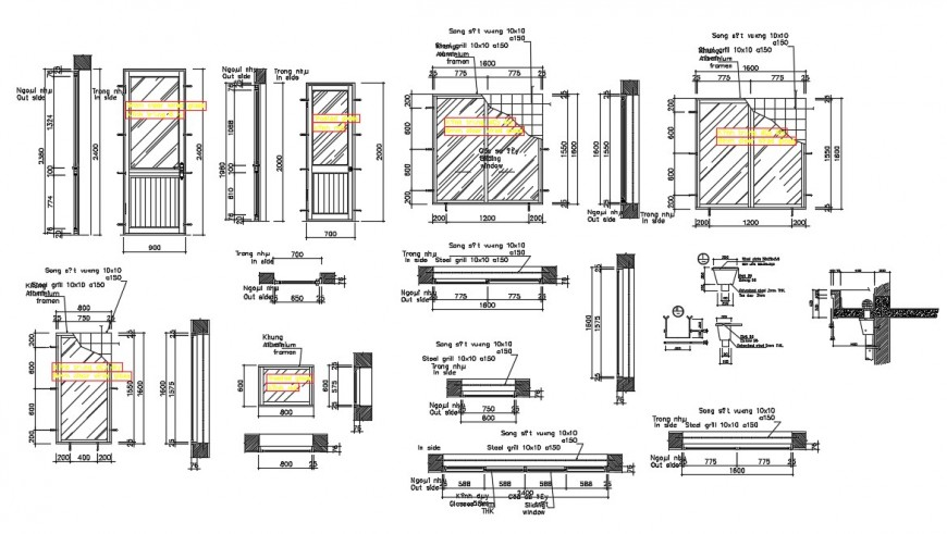 2d Door and window installation detail cad file