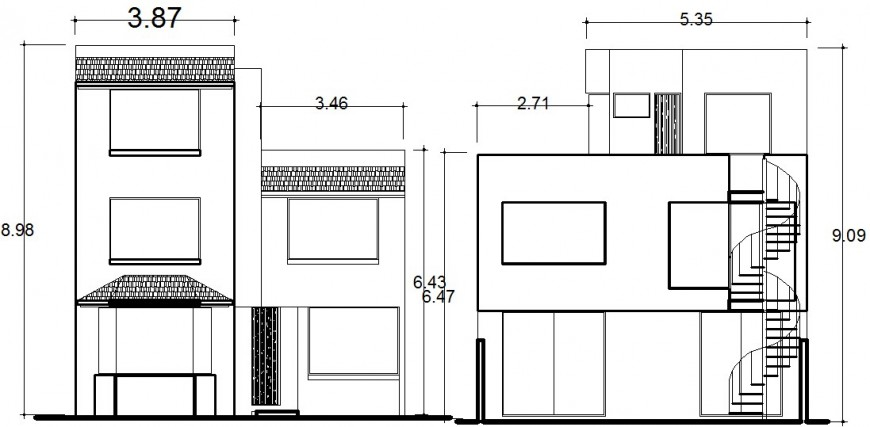 2d drawing elevation of two-story apartment dwg file