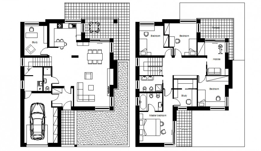 2d drawing of house floor plan layout autocad file