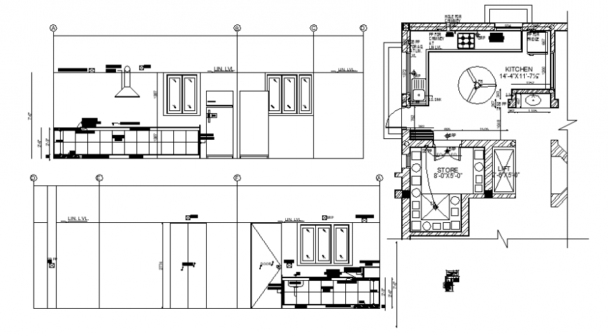 2d Drawing of the kitchen floor plan and elevation dwg autocad file