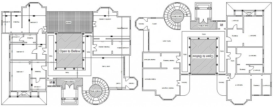 2d drawing plan of bungalow layout autocad file