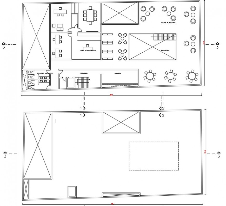 2d drawings details of library building plan dwg autocad file
