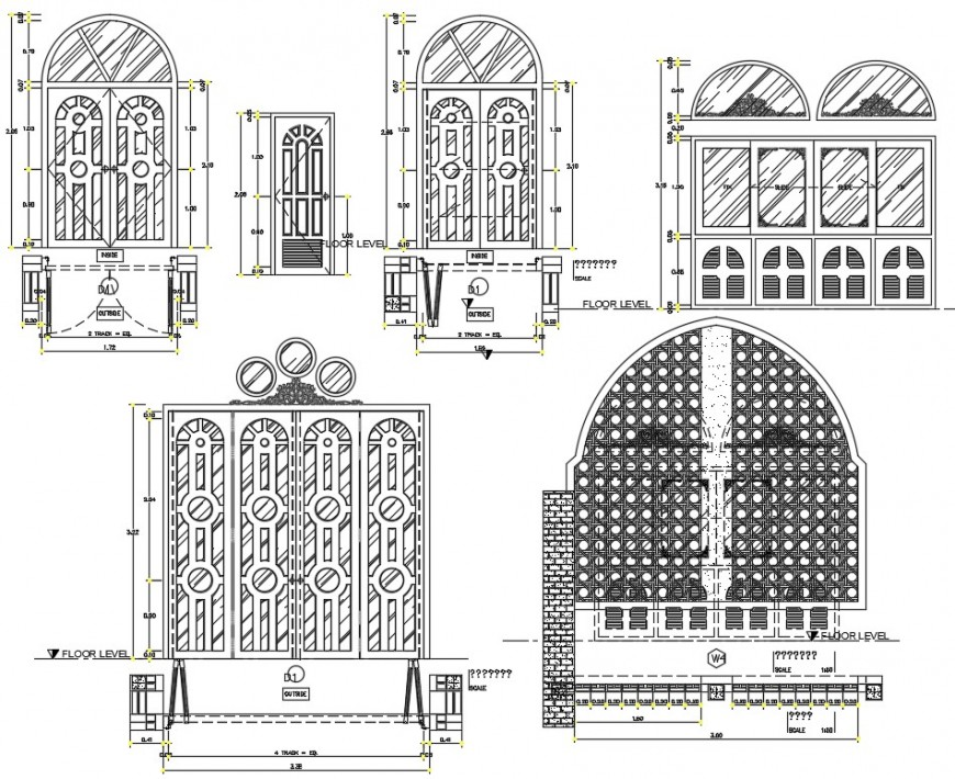 2d drawings details of door elevation dwg autocad software file