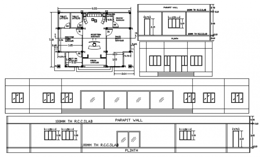 2d drawings details of office building units elevation and plan dwg file