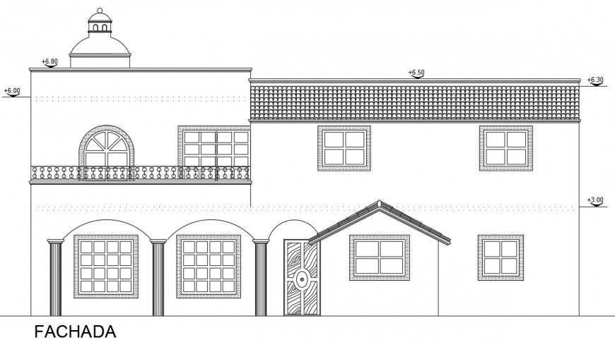 2d drawings details housing bungalow dwg file