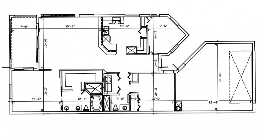 2d Drawings details of bungalow CAD plan dwg AutoCAD software file