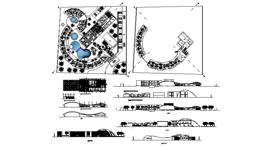 2d drawings details of commercial building units plan elevation and section dwg file