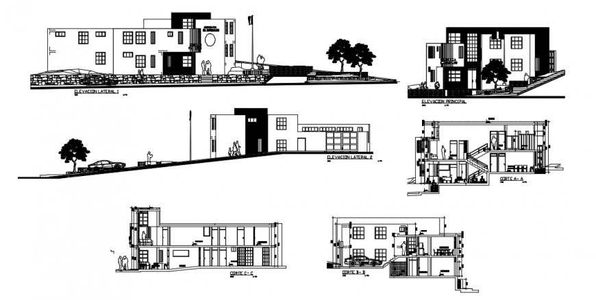 2d drawings details of housing apartment elevation and section dwg file