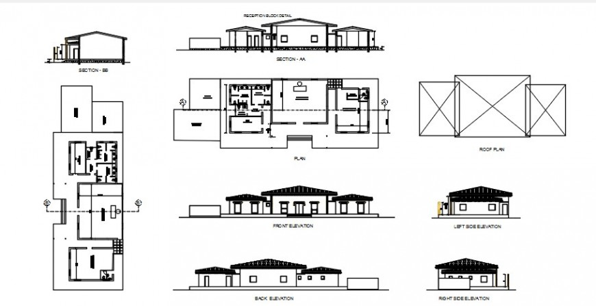 2d drawings details of housing bungalow plan elevation section dwg file