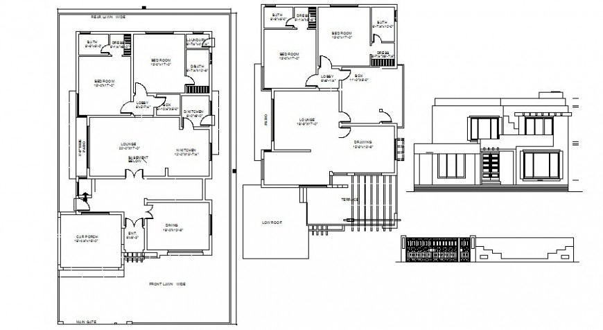 2d drawings details of housing units elevation plan autocad software file
