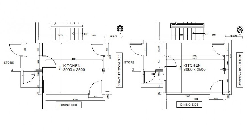 2d drawings details of kitchen area bocks layout autocad software file