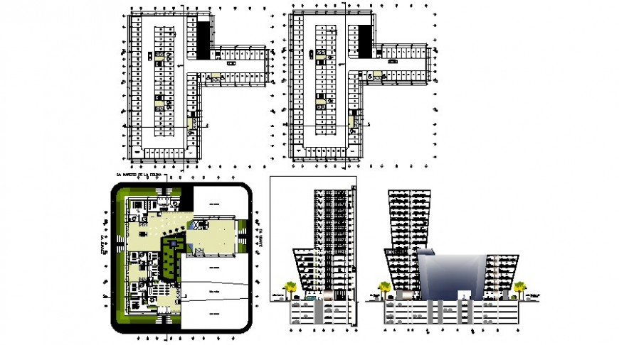 2d drawings details of multi-story high rise building plan and elevation dwg file