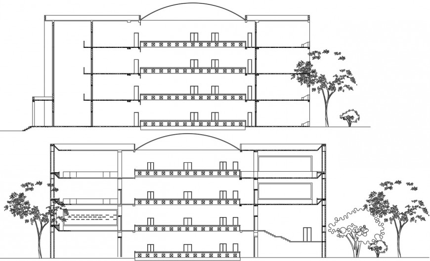 2d drawings details of museum building section dwg autocad file