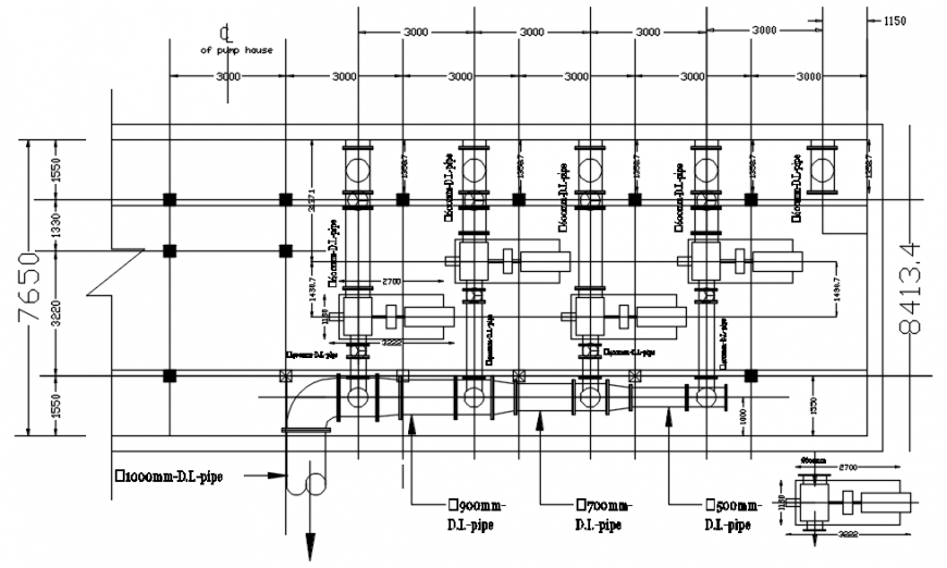 2d drawings details of pump house autocad software file