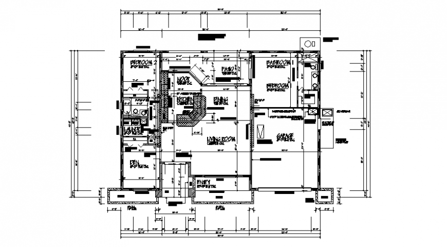 2d drawings details of residential house floor plan autocad software file