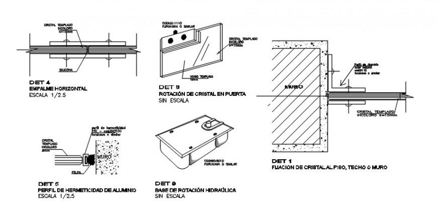2D drawings details of window sectional blocks dwg file