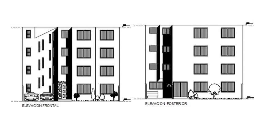 2d Drawings elevation of apartment autocad software file