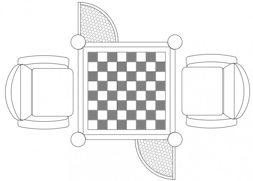 2d drawings elevation of square chess and chair dwg file