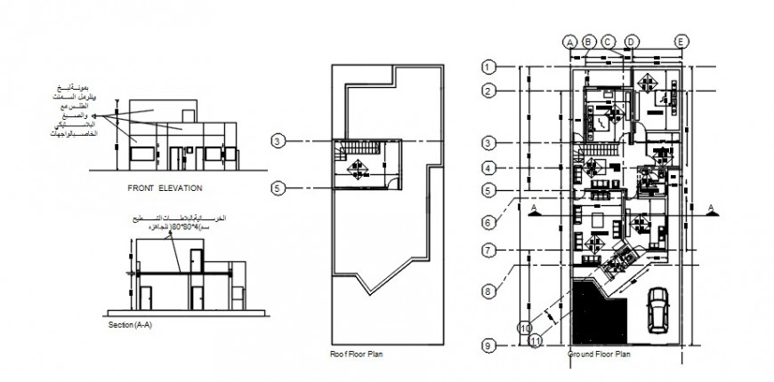 2d drawings of apartment plan elevation and section dwg autocad software file