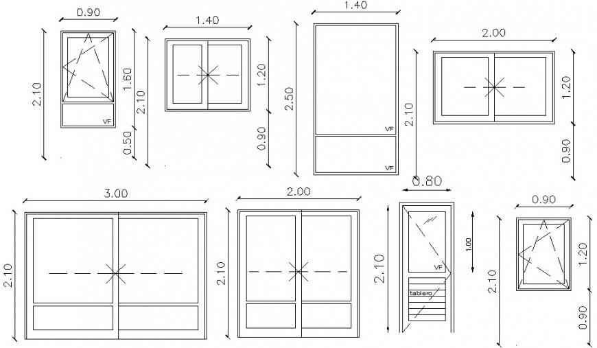 2d drawings of door window units elevation dwg file