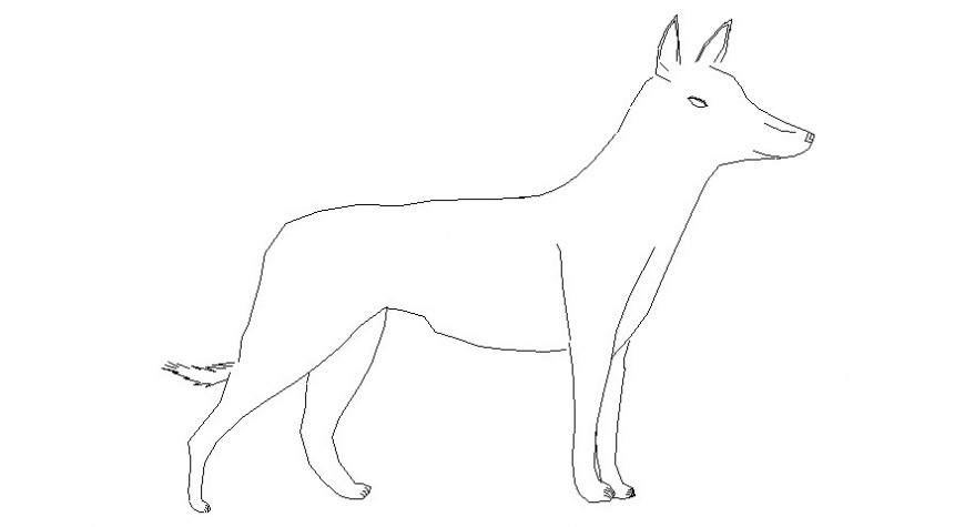 2d drawings of pet animal dog elevation autocad software file