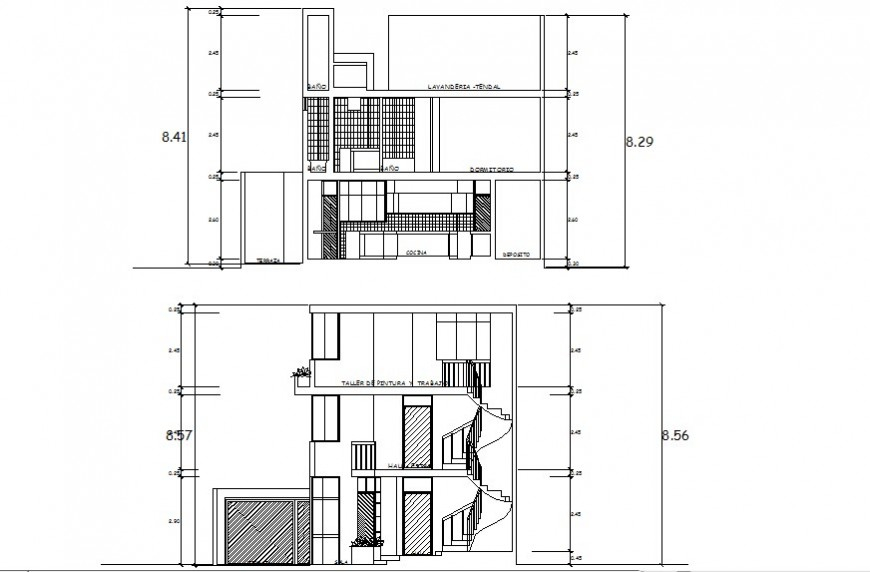 2d drawings section of residential apartment building dwg file