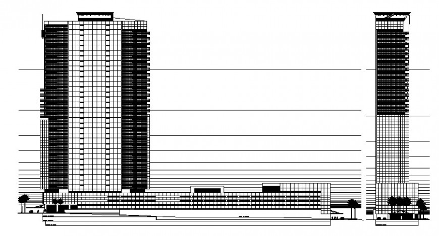 2d elevation drawing of high story building dwg autocad software file