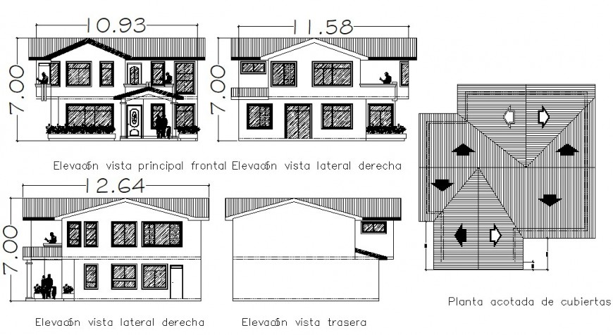 2d elevation drawings details of building apartment units dwg file