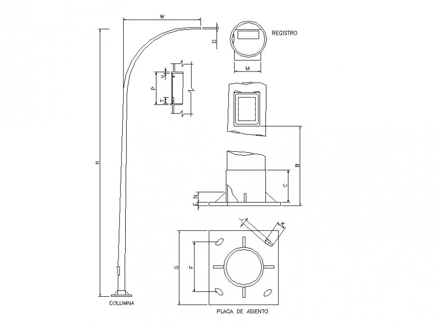 2d elevation of electrical light pole block detail CAD electrical component dwg file
