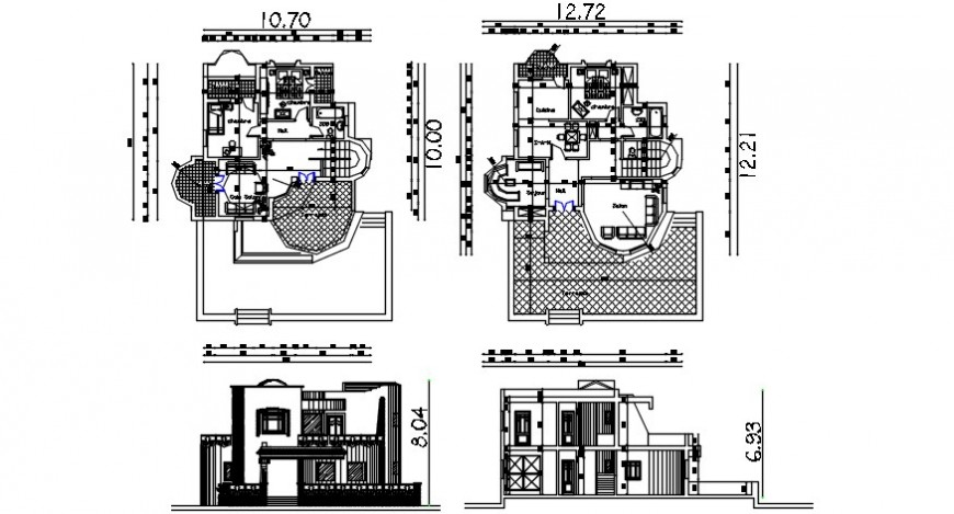 2d floor plan Drawing of the house with elevation and section dwg file