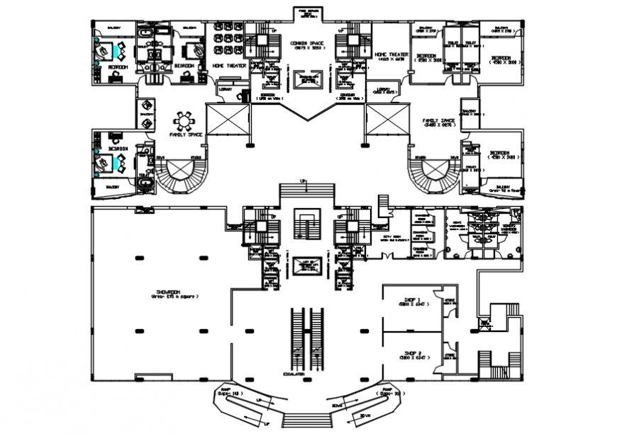 2d floor plan drawings details of residential building units dwg file