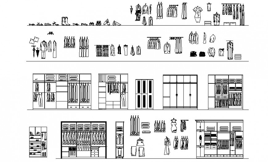 2d furniture blocks of wardrobe autocad software file