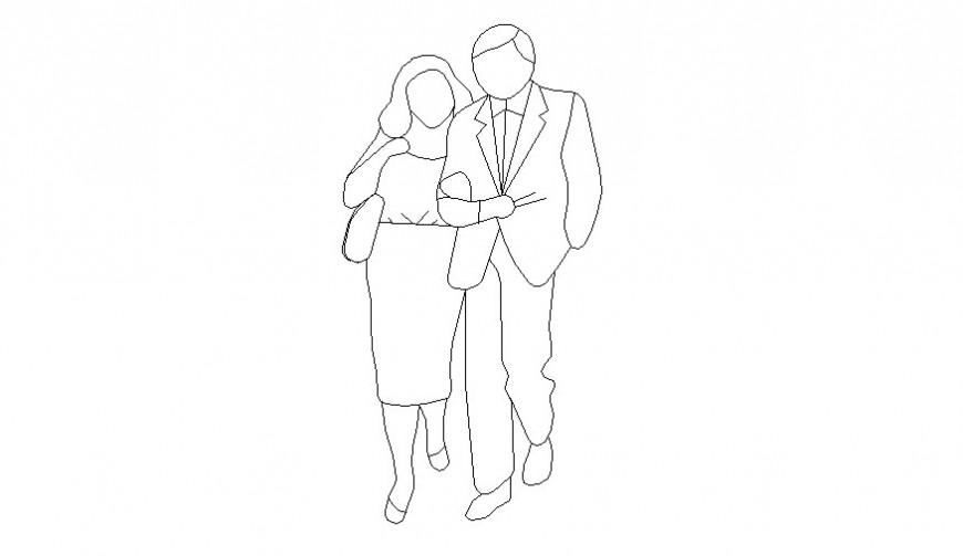 2D human couple figure cad block autocad file
