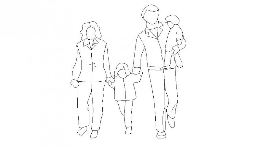 2D human couple with children figures cad model AutoCAD file