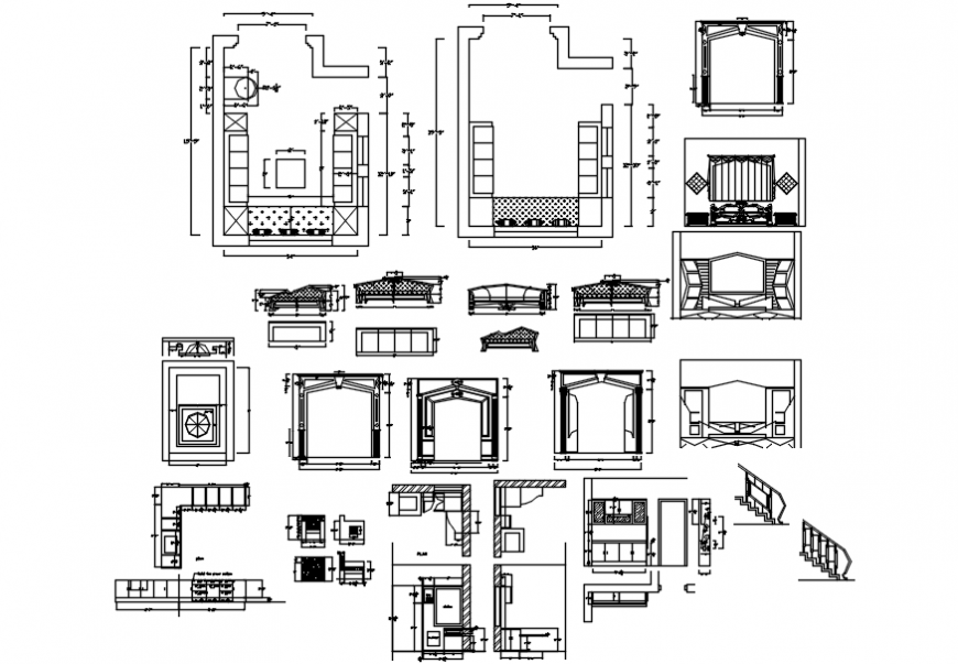 2d Interior design of drawing room dwg file